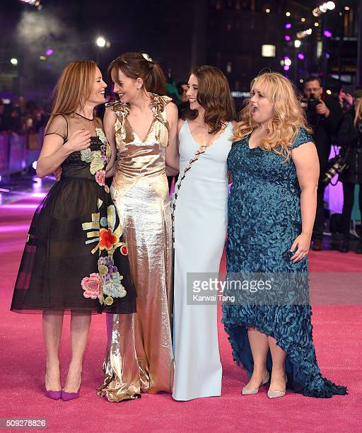 Leslie Mann Dakota Johnson Alison Brie and Rebel Wilson attend the European Premiere of 'How To Be Single' at the Vue West End on February 9 2016 in...