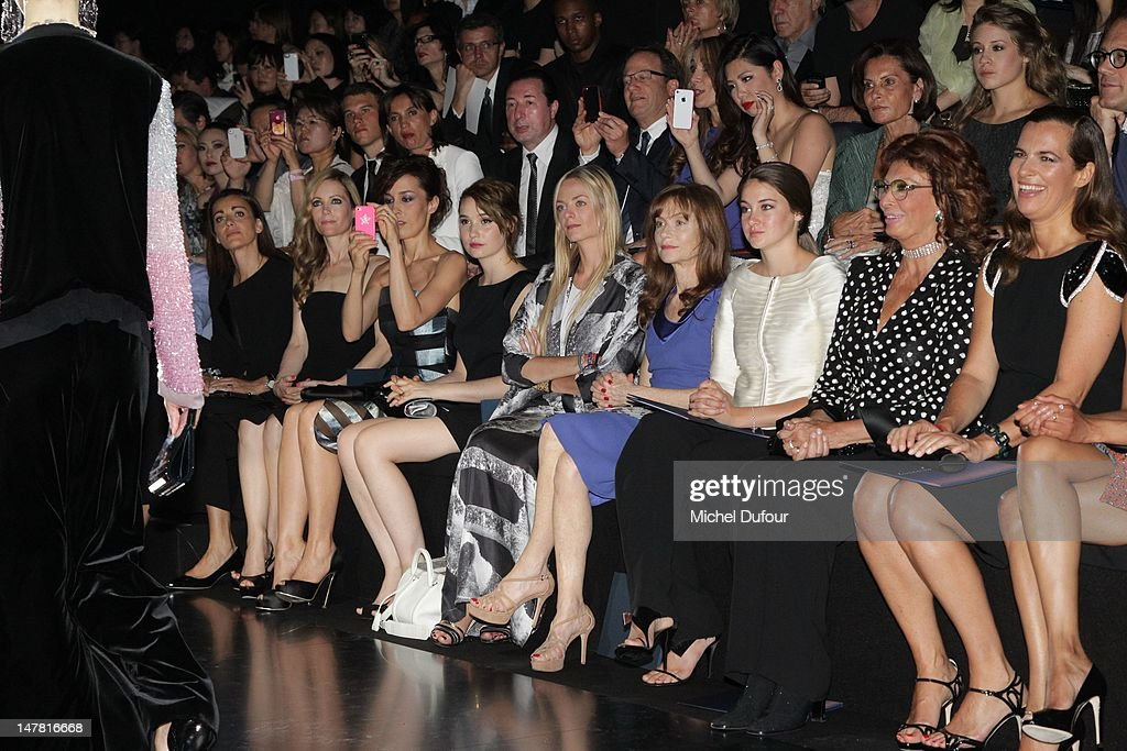 Leslie Mann, Dolores Chaplin, Deborah Francois, Virginie Courtin, Isabelle Huppert, guest and Sophia Loren attend the Giorgio Armani Prive Haute-Couture Show as part of Paris Fashion Week Fall / Winter 2012/13 at Palais de Chaillot on July 3, 2012 in Paris, France.