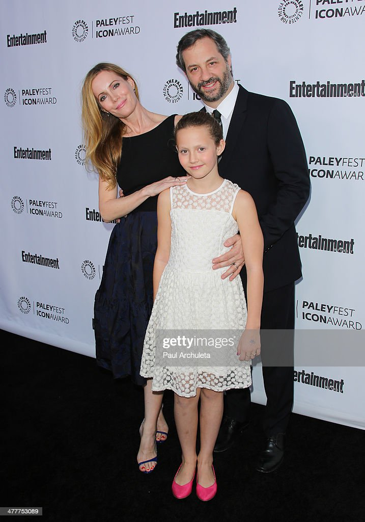 Leslie Mann Iris Apatow and Judd Apatow attend the 2014 Paleyfest Icon award presentation at The Paley Center for Media on March 10 2014 in Beverly...