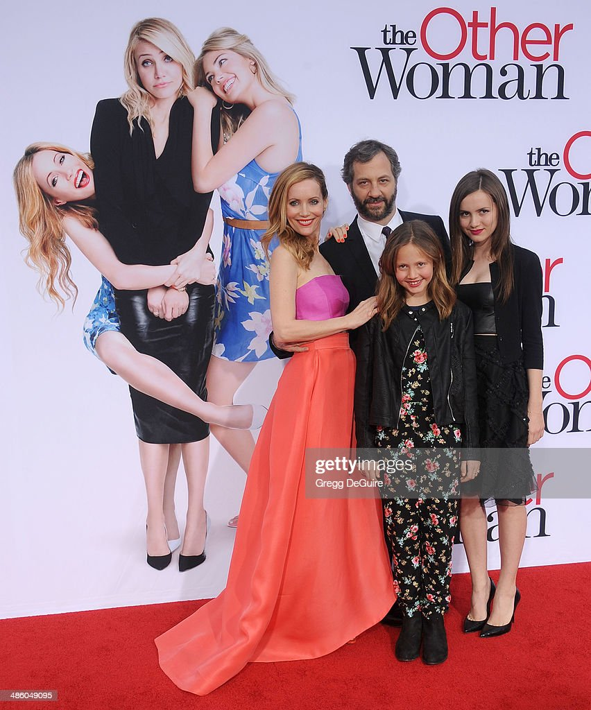 Leslie Mann Judd Apatow Iris Apatow and Maude Apatow arrive at the Los Angeles premiere of 'The Other Woman' at Regency Village Theatre on April 21...