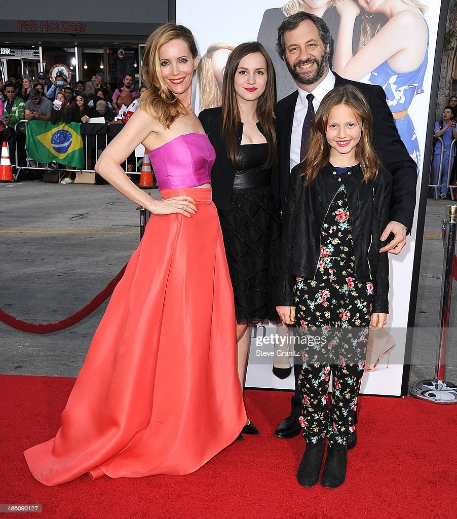 Leslie Mann Judd Apatow Iris Apatow and Maude Apatow arrives at the 'The Other Woman' Los Angeles Premiere at Regency Village Theatre on April 21...