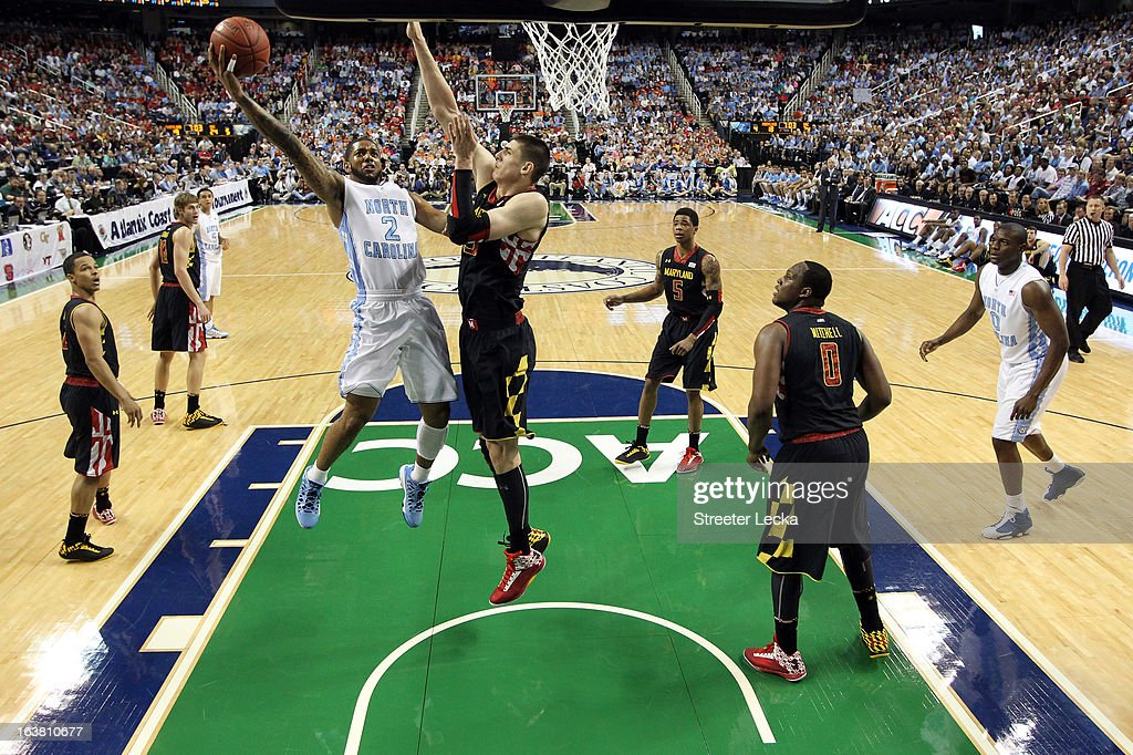 Leslie McDonald #2 of the North Carolina Tar Heels drives to the basket against Alex Len #25 of the Maryland Terrapins during the semifinals of the Men's ACC Basketball Tournament at Greensboro Coliseum on March 16, 2013 in Greensboro, North Carolina.