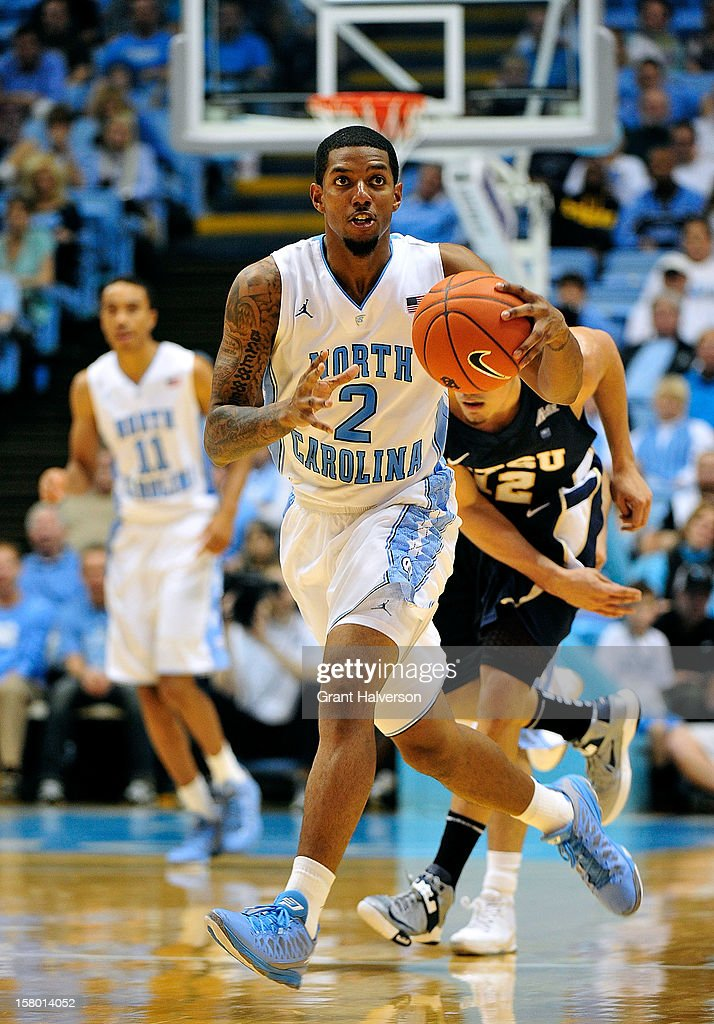 Leslie McDonald #2 of the North Carolina Tar Heels looks downcourt as he leads a fast break against the East Tennessee State Buccaneers during play at Dean Smith Center on December 8, 2012 in Chapel Hill, North Carolina. North Carolina won 78-55.