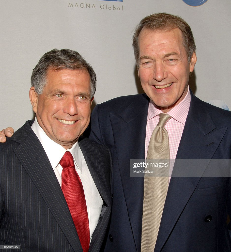 Leslie Moonves and Charlie Rose during The Hollywood Radio Television Society Presents 'A Conversation with Leslie Moonves' Newsmaker Luncheon at...