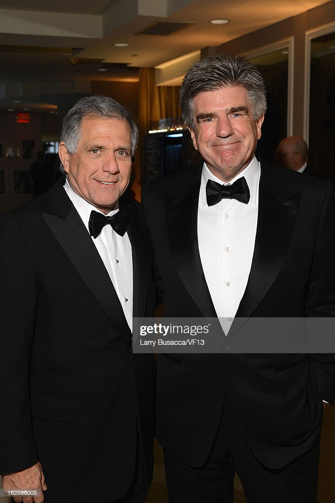 Leslie Moonves and Tom Freston attend the 2013 Vanity Fair Oscar Party hosted by Graydon Carter at Sunset Tower on February 24 2013 in West Hollywood...