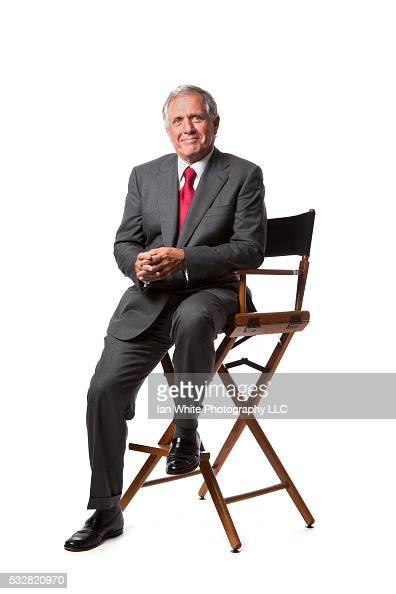 Leslie Moonves CEO of CBS in director's chair on white