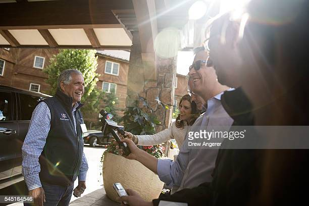 Leslie Moonves chief executive officer of CBS Corporation speaks with reporters during the annual Allen Company Sun Valley Conference July 5 2016 in...