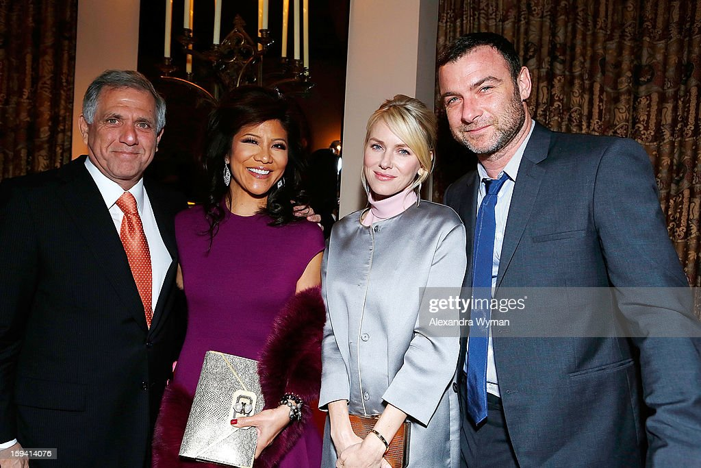 Leslie Moonves, Julie Chen, Naomi Watts and Liev Schreiber at Showtime's dinner celebration of The 2013 Golden Globe Nominees held at The Chateau Marmont on January 12, 2013 in Los Angeles, California.