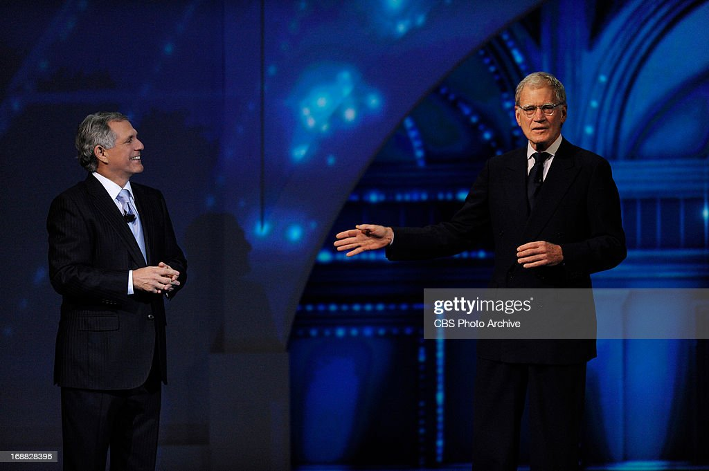 Leslie Moonves, President and Chief Executive Officer, CBS Corporation (left) and host of Late Late Show David Letterman (right) during the 2013 CBS Upfront presentation at Carnegie Hall on Wednesday, May 15.