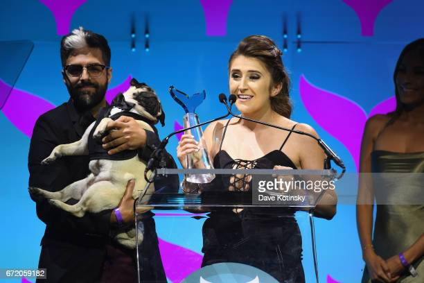 Leslie Mosier owner of Doug the Pug accepts an award on stage at the The 9th Annual Shorty Awards on April 23 2017 in New York City