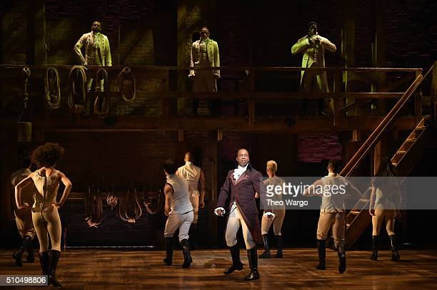 Leslie Odom Jr and cast of 'Hamilton' perform on stage during 'Hamilton' GRAMMY performance for The 58th GRAMMY Awards at Richard Rodgers Theater on...