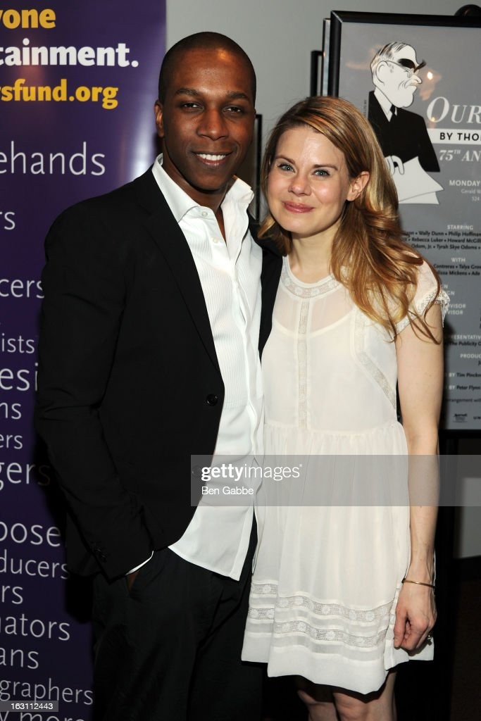 Leslie Odom Jr. and Celia Keenan-Bolger attend 'Our Town' Benefit Performance at the Gerald W. Lynch Theatre on March 4, 2013 in New York City.