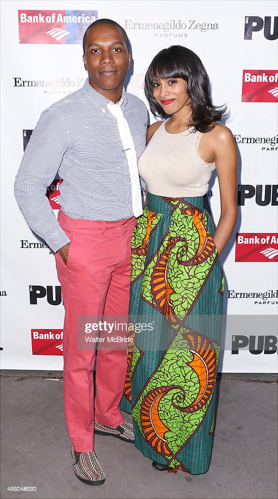 Leslie Odom Jr. and Nicolette Robinson attend the The Public Theatre's Opening Night Performance of 'King Lear' at the Delacorte Theatre on August 5, 2014 in New York City.