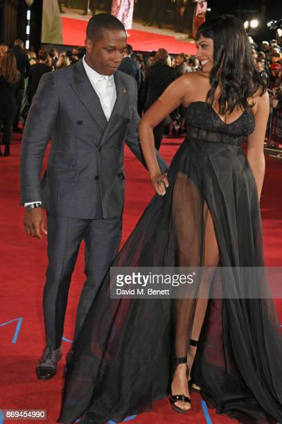 Leslie Odom Jr and Nicolette Robinson attend the World Premiere of 'Murder On The Orient Express' at The Royal Albert Hall on November 2 2017 in...