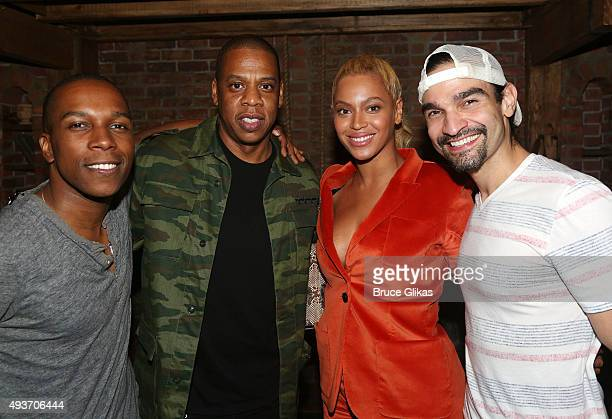 Leslie Odom Jr Jay Z Beyonce and Javier Munoz pose backstage at the hit musical 'Hamilton' on Broadway at The Richard Rogers Theater on October 21...