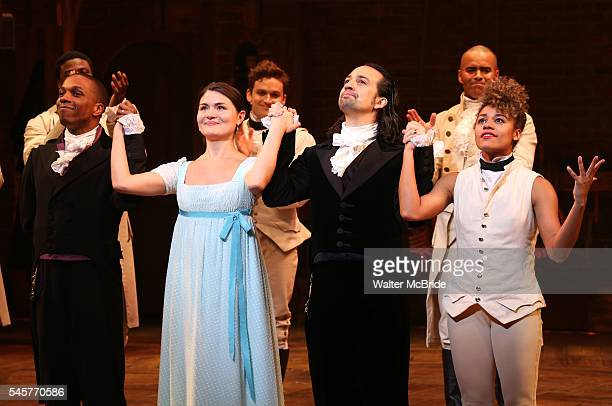 Leslie Odom Jr Phillipa Soo and Ariana DeBose with LinManuel Miranda during their final performance curtain call of 'Hamilton' on Broadway at Richard...