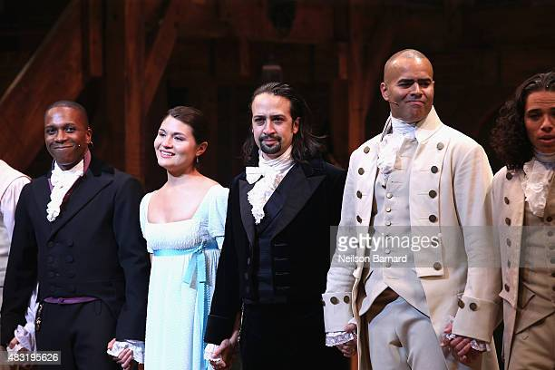 Leslie Odom Jr Phillipa Soo LinManuel Miranda and Christopher Jackson attend 'Hamilton' Broadway Opening Night at Richard Rodgers Theatre on August 6...