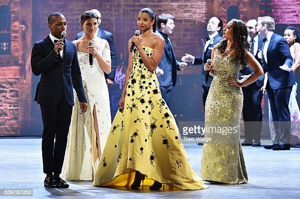 Leslie Odom Jr Phillipa Soo Renee Elise Goldsberry and Jasmine Cephas Jones perform onstage during the 70th Annual Tony Awards at The Beacon Theatre...