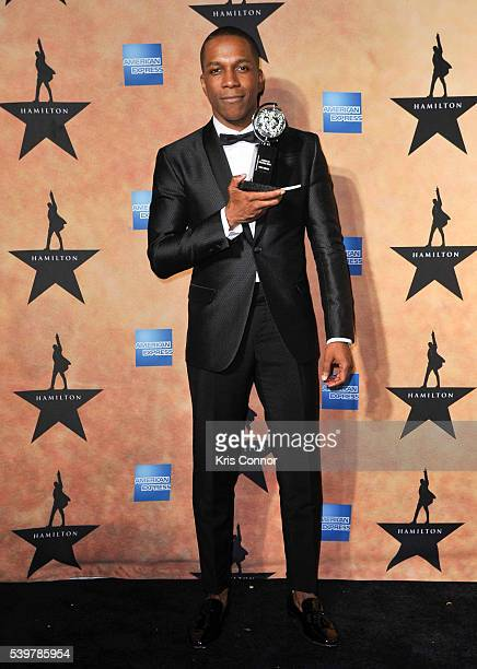Leslie Odom Jr poses for photographers with a tony award during the 'Hamilton' Tony Awards After Party at Tavern On The Green on June 12 2016 in New...