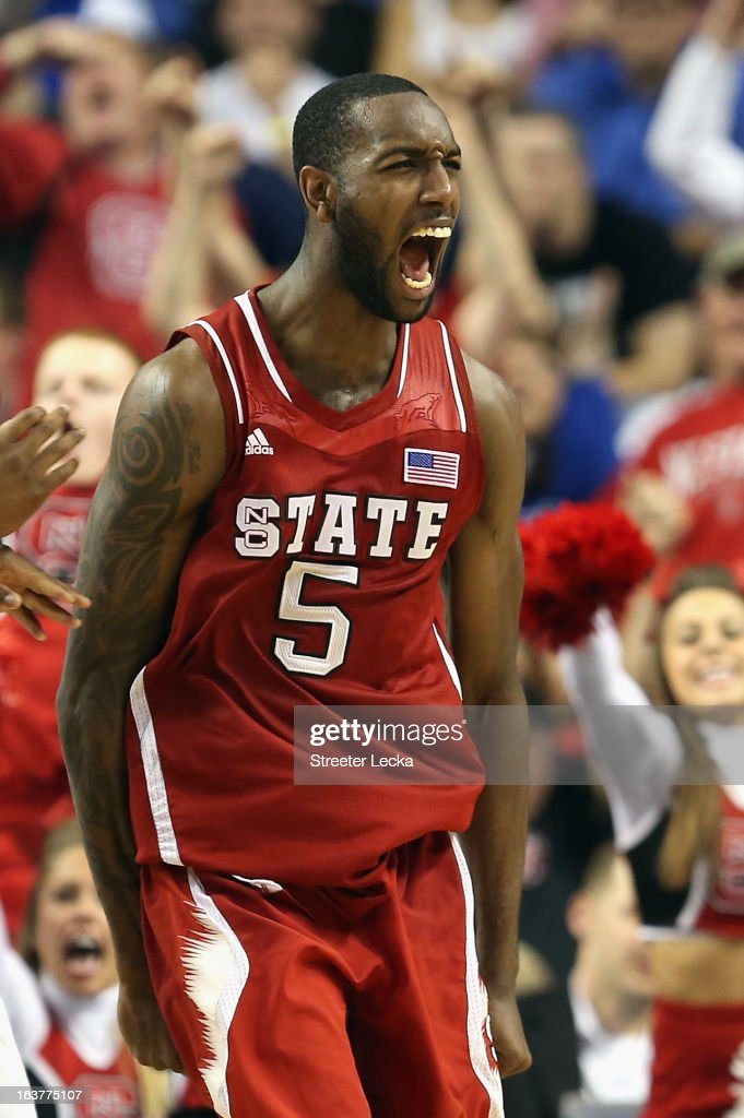 C.J. Leslie #5 of the North Carolina State Wolfpack reacts after making a basket against the Virginia Cavaliers during the quarterfinals of the Men's ACC Basketball Tournament at Greensboro Coliseum on March 15, 2013 in Greensboro, North Carolina.