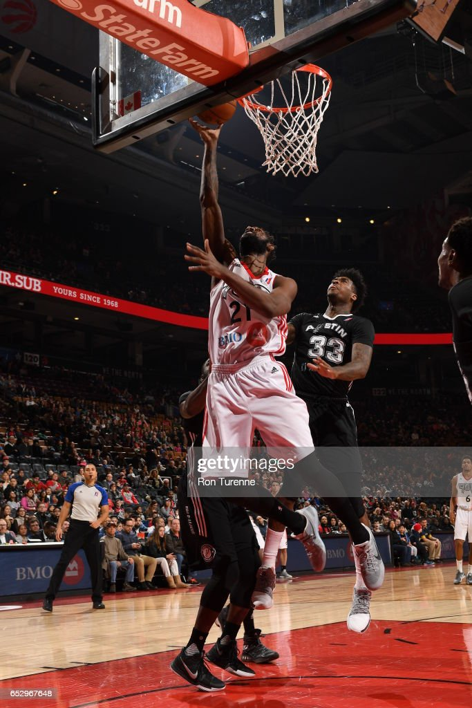 CJ Leslie #21 of the Raptors 905 lays the ball to the basket during the game against the Austin Spurs at the Air Canada Centre on March 13, 2017 in Toronto, Ontario, Canada.