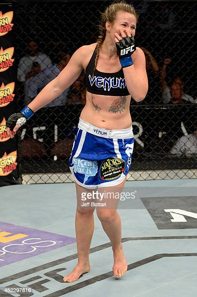 Leslie Smith celebrates after defeating Jessamyn Duke in their women's bantamweight bout during the UFC Fight Night event at Revel Casino on July 16...