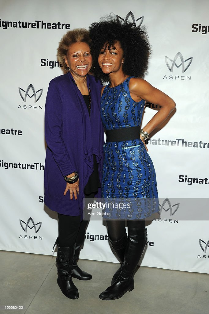<a gi-track='captionPersonalityLinkClicked' href=/galleries/search?phrase=Leslie+Uggams&family=editorial&specificpeople=213729 ng-click='$event.stopPropagation()'>Leslie Uggams</a> and Yaya DaCosta Alafia attend 'The Piano Lesson' Opening Night Party at Signature Theater Company's Peter Norton Space on November 18, 2012 in New York City.