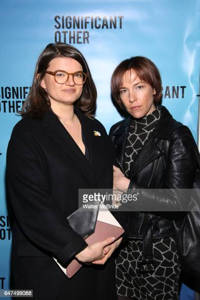 Leslye Headland and Rebecca Henderson attends the Broadway Opening Night performance for 'Significant Other' at the Booth Theatre on March 2 2017 in...