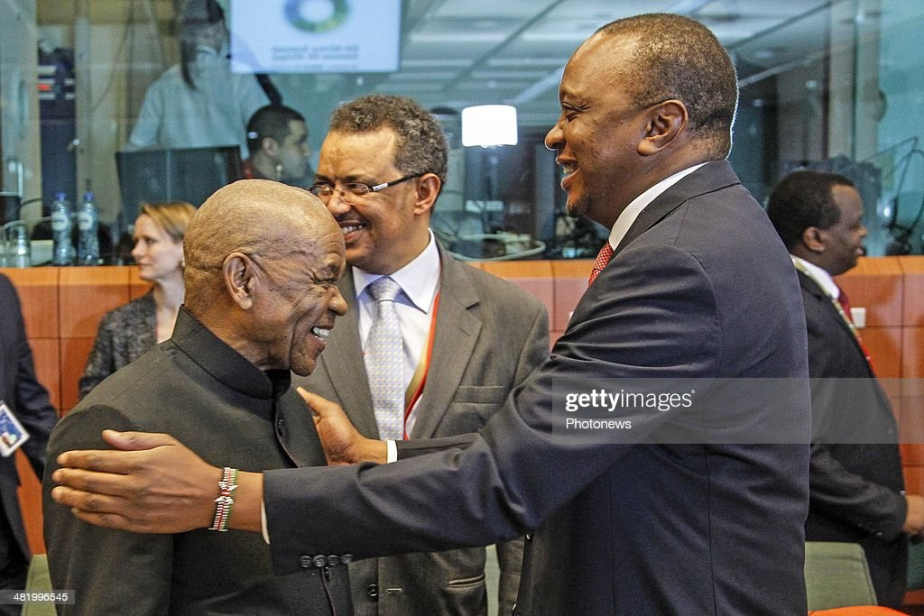 Lesotho President Motsoahae Thomas Thanabe (L) and Kenyan President <a gi-track='captionPersonalityLinkClicked' href=/galleries/search?phrase=Uhuru+Kenyatta&family=editorial&specificpeople=2149190 ng-click='$event.stopPropagation()'>Uhuru Kenyatta</a> attend the first day of the summit of European Union and African heads of state and government at the EU headquarters on April 2, 2014 in Brussels, Belgium. There is a special crisis meeting to address the conflict in the Central African Republic.