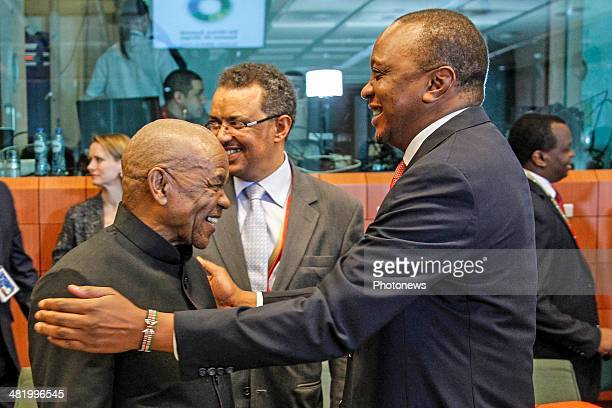 Lesotho President Motsoahae Thomas Thanabe and Kenyan President Uhuru Kenyatta attend the first day of the summit of European Union and African heads...