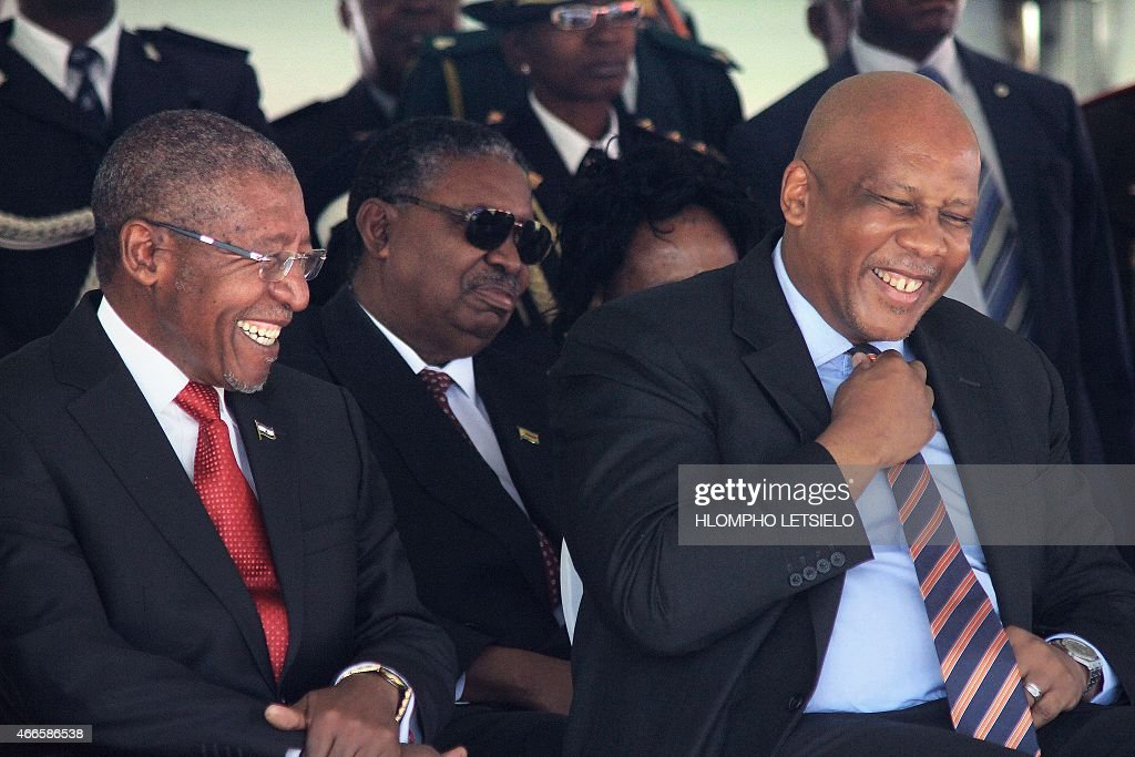 Lesotho Prime Minister Pakalitha Mosisili (L) laughs with King Letsie III of Lesotho on March 17, 2015 during his inauguration ceremony in Maseru.