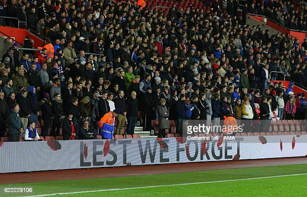 Lest we forget is shown on the LED boards as fans observe a moment of silence for remembrance day during the U21 International Friendly match between...