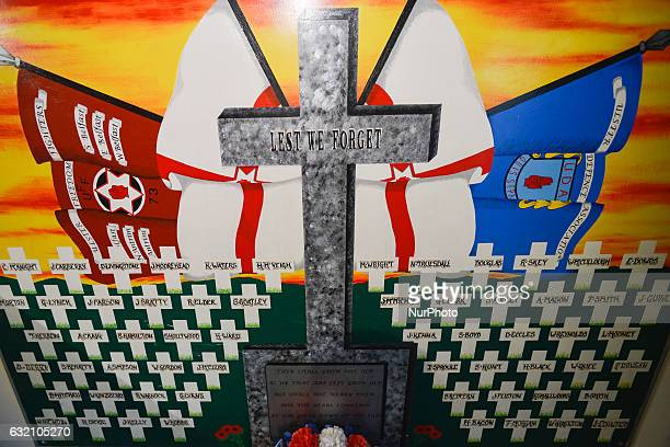 'Lest We Forget' painting done on a prison table inside Maze prison on display in Andy Tyrie Interpretive Center on Newtownards Roads in Belfast The...