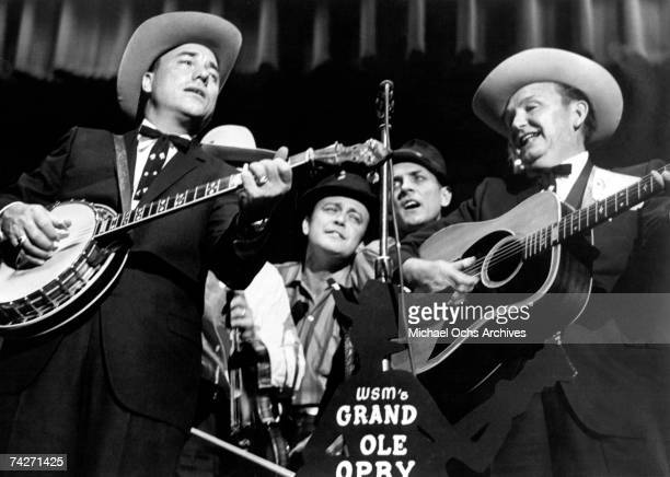 Lester Flatt and Earl Scruggs perform with The Foggy Mountain Boys at the Grand Ole Opry circa 1960 in Nashville Tennessee