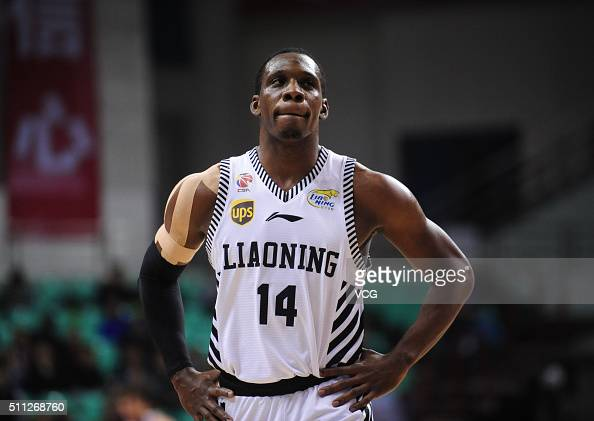 Lester Hudson of Liaoning Flying Leopards reacts during the Chinese Basketball Association 15/16 season playoff quarterfinal match between Liaoning...