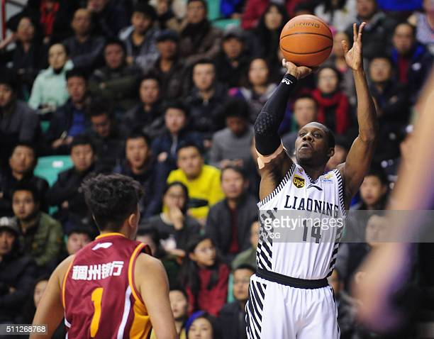Lester Hudson of Liaoning Flying Leopards shoots the ball during the Chinese Basketball Association 15/16 season playoff quarterfinal match between...