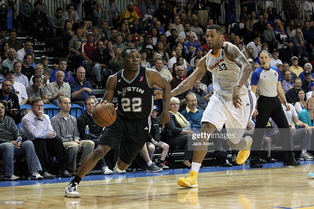 Lester Hudson #22 of the Austin Toros drives to the basket against Stefhon Hannah #33 of the Santa Cruz Warriors in an NBA Development League Playoff Game on April 19, 2013 at Kaiser Permanente Arena in Santa Cruz, California.