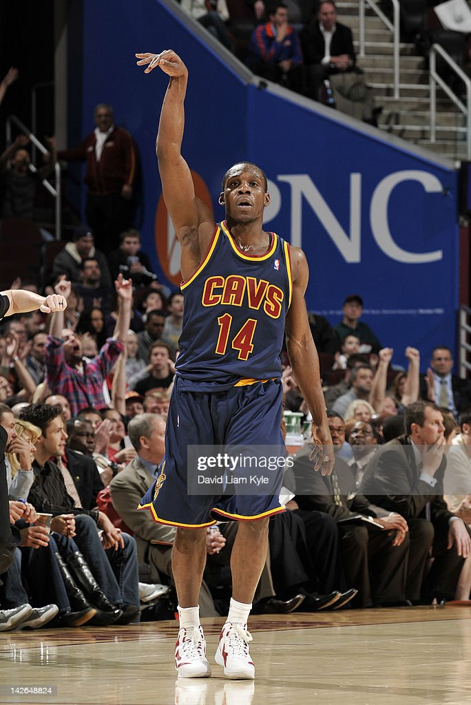 Lester Hudson #14 of the Cleveland Cavaliers holds his follow through pose after sinking a three pointer against the Charlotte Bobcats at The Quicken Loans Arena on April 10, 2012 in Cleveland, Ohio.