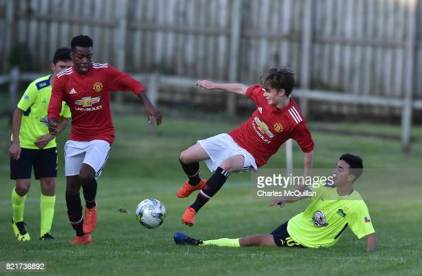 Lestyn Hughes of Manchester United and Fernando Urzua of Colina during the NI Super Cup junior section game between Manchester United and Colina at...