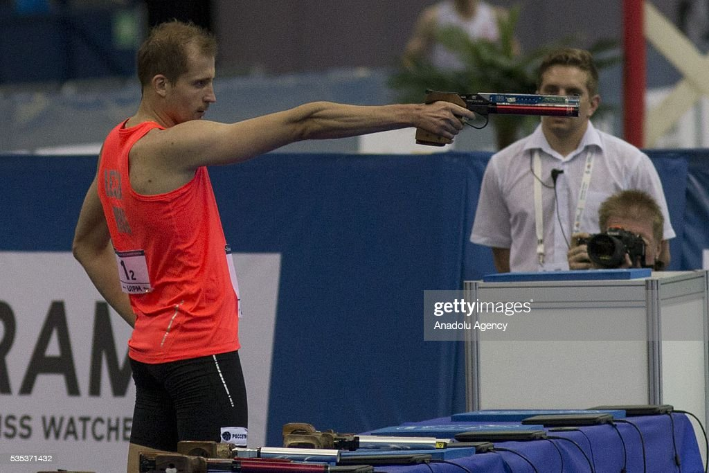 Lesun Aleksander from Russia competes in the combined event at the mixed relay World Championship in modern pentathlon in Moscow in Olympic Sports Complex in Moscow, Russia, on May 29, 2016.