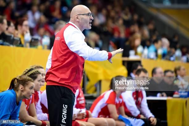 Leszek Krowicki head coach of Poland reacts during IHF Women's Handball World Championship group B match between Poland and Hungary on December 07...