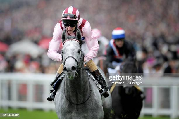 Lethal Force ridden by Adam Kirby wins the Diamond Jubilee Stakes ahead of Society Rock ridden by Kieren Fallon during day five of the Royal Ascot...
