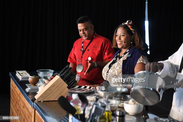 Leticia Skai Young Raymond Zamanta Mohan does a cooking demo at Harlem EatUp's Third Annual Festival Weekend on May 21 2017 in New York City