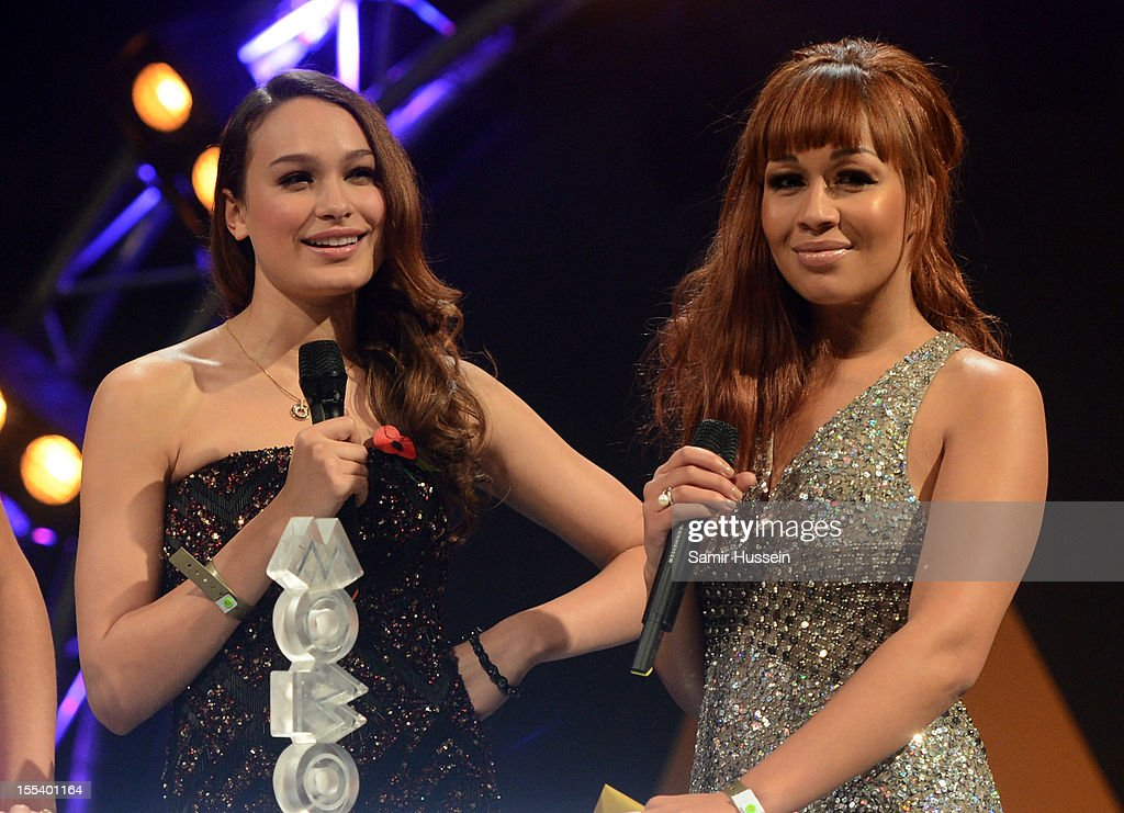 Letita Herod and Rebecca Ferguson present the Best Video award onstage at the 2012 MOBO awards at Echo Arena on November 3, 2012 in Liverpool, England.
