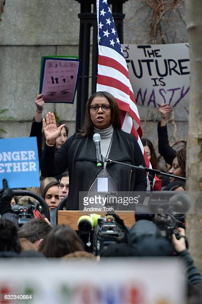 Letitia James speaks during the 2017 Women's March Sister March in New York on January 21 2017 in New York City