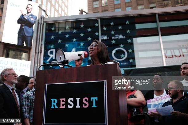 Letitia James the Public Advocate for New York City speaks to protesters in Times Square near a military recruitment center as they show their anger...