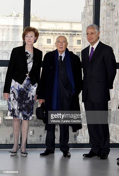 Letizia Moratti Roberto Formigoni and Giorgio Napolitano visit the Museo Del Novecento on February 1 2011 in Milan Italy The Museo del Novecento...