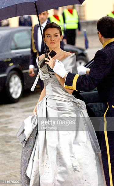 Letizia Ortiz during The PreWedding Royal Dinner Gala For Crown Prince Felipe Of Spain at Madrid in Madrid Spain