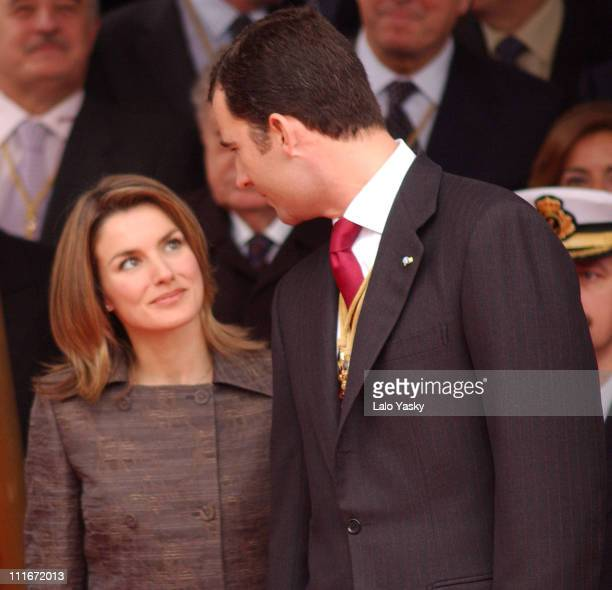 Letizia Ortiz Rocasolano and CrownPrince Felipe during Prince Felipe and Fiancee Letizia Ortiz Commemorate the 25th Anniversary of Spain's...