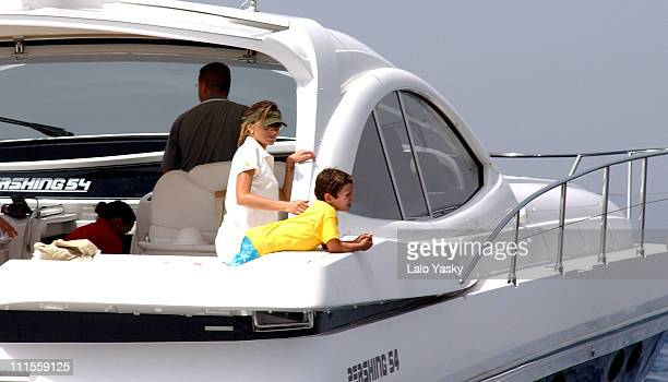 Letizia Ortiz with her son Felipe Juan Froilan during King Juan Carlos King Herald and Prince Felipe sail at the Regata Breitling at Regata Breitling...